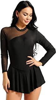 Women's Ice Figure Skating Dress Long Sleeve Mesh Cut Out Back Skirted Leotard Competition Performance Dresses