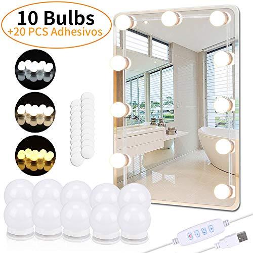 PEYOU Luces de Espejo Maquillaje, 5.5m Kit LED Luz de Tocador con 10 Bombillas Regulables y 20 pcs Pegatinas, Carga USB, 3 Modos Ajustable de Color de Luz(Sin Espejo y Cargador USB)