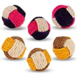 ruggito 6 Pieces Cat Toy Ball Cat Sisal Ball Interactive Cat Ball Cat Rolling Ball Scratch Cat Toy Cats Animal Pet Supplies, Random Color