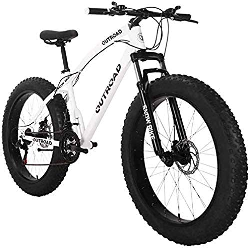 Mountain Bike 26 inch Fat Tire High-Carbon Steel Frame 21-Speed Disc Brake and Shock Absorber ForkMountain Bike 26 inch Fat Tire High-Carbon Steel Frame Bikes 21-Speed Disc Brake Bicycles