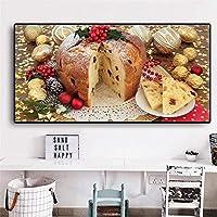 グラフィティアートフードパンゴールデンチョコレートクリスマスデコレーション絵画ポスター壁画プリントダイニング家の装飾60x120cmフレームなし