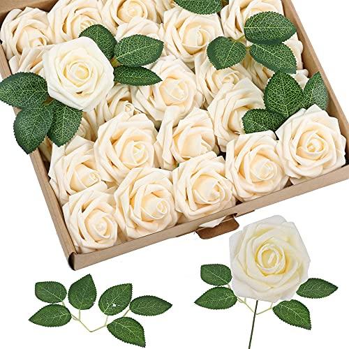 25 Stücke Deko Blumen Fake Rosen, Künstliche Blumen Rosen, Kunstblumen Deko, Kunstblumen Köpfe, mit Stiel, mit 3 Grünen Blättern, für Hochzeit, Party, Heimtextilien