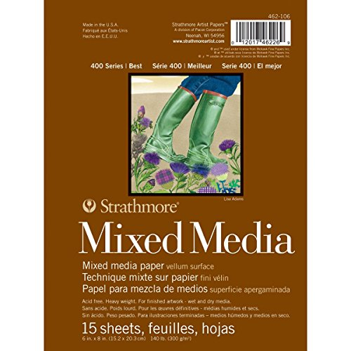 Pro-Art Mixed Media-Pergamentpapierblock Strathmore, 15,2 cm x 20,3 cm, 15Blätter, Mehrfarbig