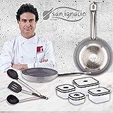 San Ignacio PK1406 Foodies Set 2 sartenes 24x5 y 28x5,5 cm + 4 fiambreras + 3 Utensilios, Aluminio prensado, Multicolor