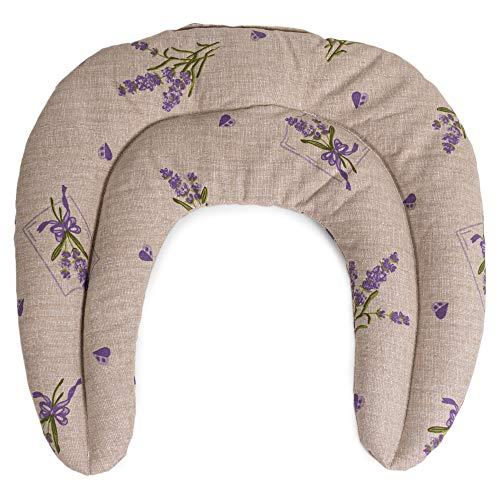 Saco cervical térmico de semillas | Cojín térmico para el cuello | Almohada térmica compartimentada para semillas de lino (color: campestre romantico)