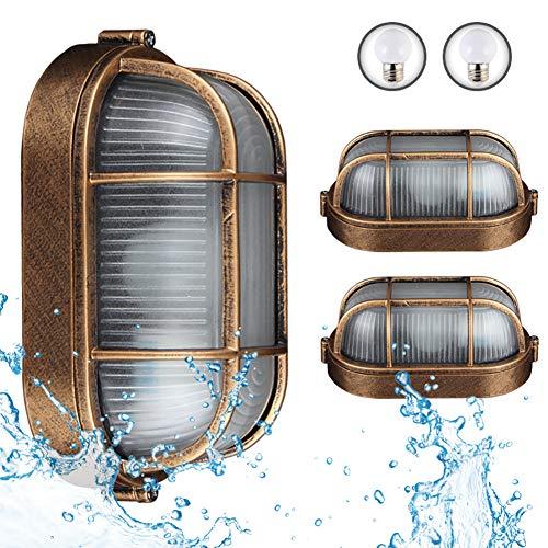 2 Packungen Außenlampe, Vintage Gitter Lampe, Wandlampe Wasserdicht Aluminiumguss Und Glas Aussenleuchte Retro E27 Landhaus Hoflampe Eingangs Außen-Wandleuchte Beinhaltet Eine LED 3 W Warmlichtlampe
