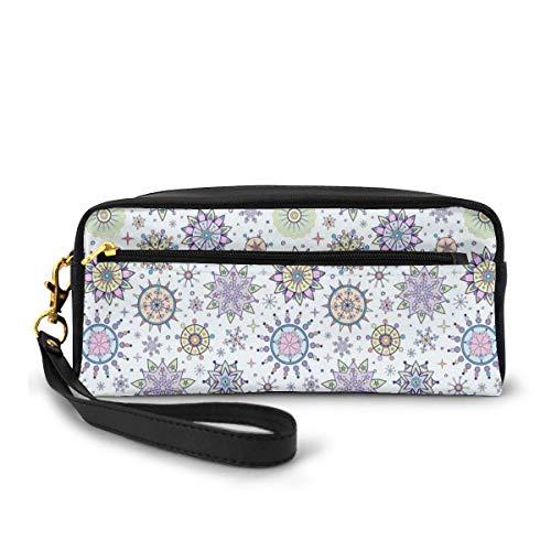 Estuche para lápices, bolsa de papelería, figuras florales detalladas de colores pastel con diseño artístico lindo dulce nieve Blizzard, bolso pequeño de maquillaje monedero
