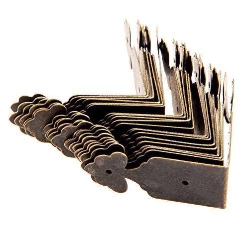 Rechtwinklige Halterung aus Metall 20Pcs Antike Bronze Dekorative Schmuckschatulle Holz-Kasten Füße Bein Eckenschutz Dekorative Möbel Leg Eckenschutz mit Nägeln