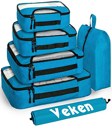 Veken 6 Set Packing Cubes Travel Luggage Organizers with Laundry Bag amp Shoe Bag Blue