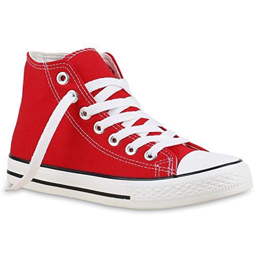 stiefelparadies Sneakers High Damen Schuhe Canvas Schuhe Freizeit Basic Turnschuhe 130147 Rot Carlet 39 Flandell
