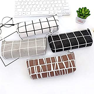 Pencil Bags - 1Pcs Canvas Pencil Case school kawaii Pencil Bag Simple Striped grid Office&School Supplies Pen bag Students...