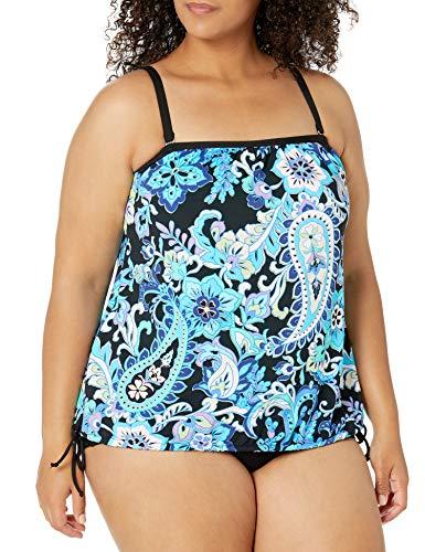 24th & Ocean Women's Plus Size Side Tie Tankini Swimsuit Top, Multi//Tribal Beat, 18W