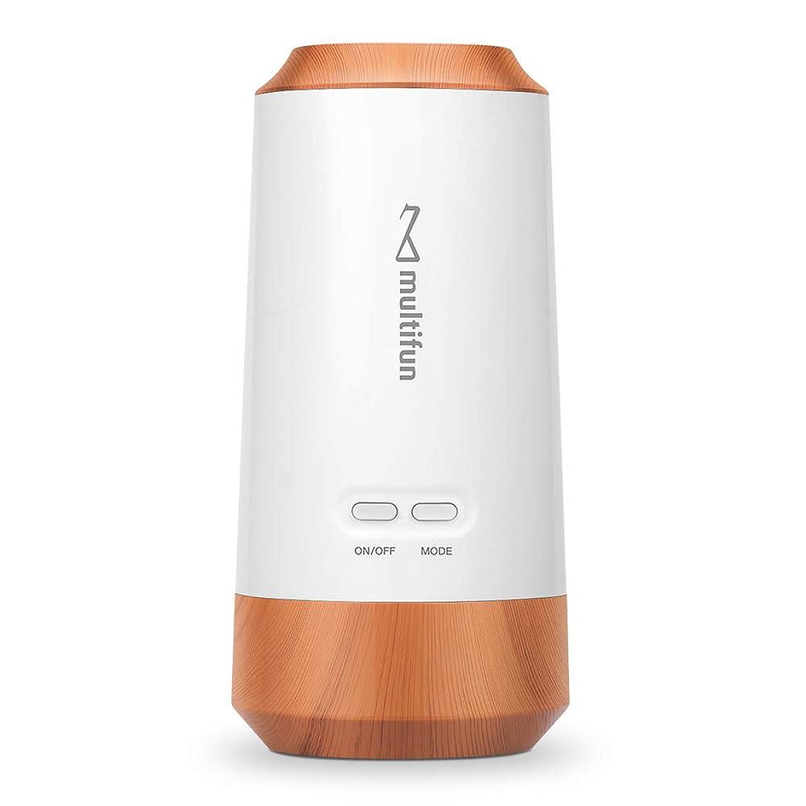 健康的調べる爆風multifun アロマディフューザー ネブライザー式 気化式 車載用 コードレス 水を使わない 充電式 静音 車用 10mlアロマ320時間使える 精油瓶1個 スポイト付き 6畳~9畳まで