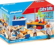 Explore the everyday: PLAYMOBIL Chemistry class playset with three figurines and lots of accessories for accurate role-play Equipment for experimenting on the laboratory table, hanging board, school desk, etc., can be extended with City Life Large sc...