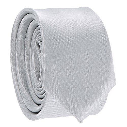 Cravate Fine Gris argent - Cravate Homme Coupe Slim Moderne - 5cm à la Pointe - Couleur Unie - Accessoire Chemise pour Mariage, Cérémonie
