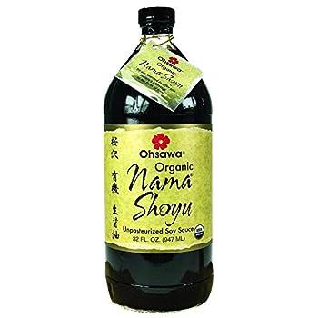 Ohsawa Nama Shoyu Organic and Aged in 150 Year Cedar Kegs for Extra Flavor - Japanese Soy Sauce Non-GMO Vegan Kosher - 32 oz