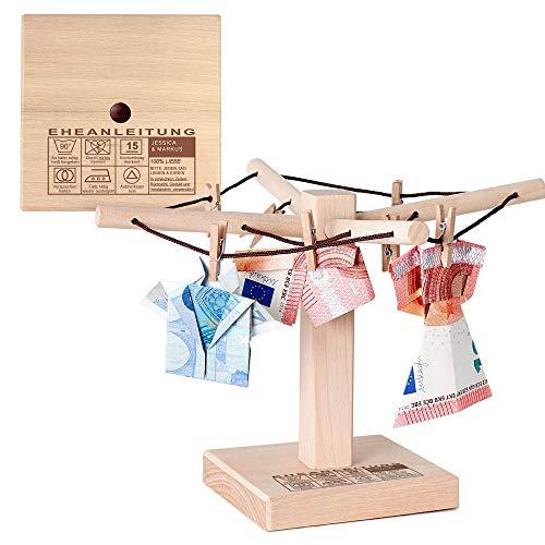 Casa Vivente Wäsche-Spinne aus Holz mit Gravur Personalisiert mit Namen und Datum, Eheanleitung, Verpackung für Geldgeschenke, Geschenkidee zur Hochzeit, ca. 20 x 12 cm