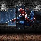 MTRSLH 5 pièces Décoration Murale Spiderman Marvel Impressions sur Toile Home Décor Imprimé Moderne Décoration pour Le Salon Cadre XL 100x55cm