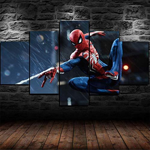 Lienzo en Cuadro Abstracto Moderno 200x100cm Impresión Personaje famoso de la película de Spider Superhero 5Piezas Material Tejido no Tejido Impresión Artística Imagen Gráfica Decoracion de Pa