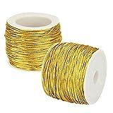 SNAGAROG 2 rollos de cordón elástico metálico de cordón elástico cinta de cordón de oro cuerda de espumillón de hilo elástico de 25 m m para hacer manualidades, envolver regalos, 1 mm