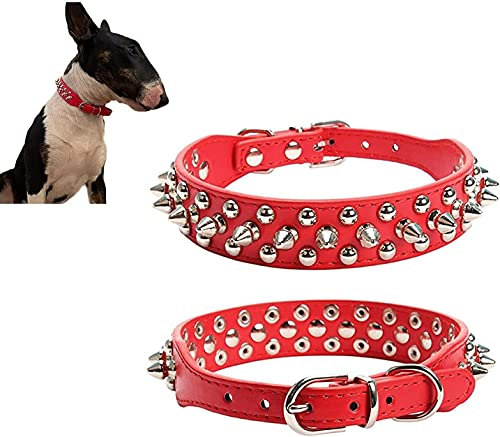 LDLD Collares de perro remachado remache tachonado cachorro mascota remache pequeño mediano Spiky PU cuero