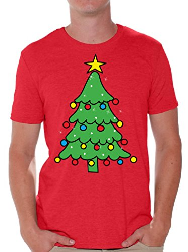 Christmas Tree - Ugly Christmas Tshirt - Happy Holiday Xmas Outfit Gift for Men Red 4XL