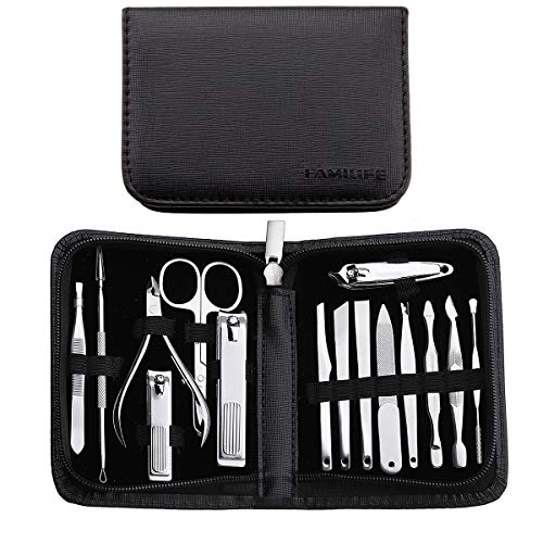 FAMILIFE F02 15 In 1 Manicure Pedicure Set with Gift Box Leather Travel Case Stainless Steel Mens Grooming Kit