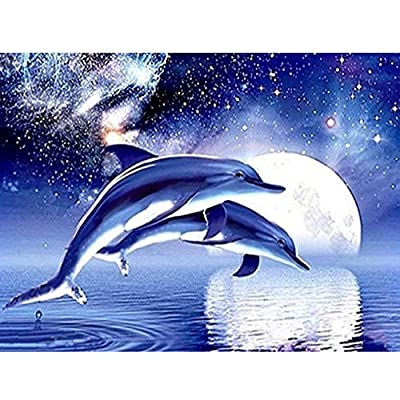 Amyline DIY 5D Diamond Painting Kit, Pair of Dolphins Embroidery Cross Stitch Arts Craft Supply for Living Room Wall Decor