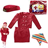 DRESS 2 PLAY Pretend Costume, with Accessories (Stewardess) Burgundy Red