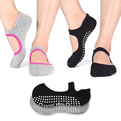 Non Slip Socks Cotton Yoga Socks Pilates Ballet Socks Dance for Women Men 2 Pack(Black & Grey)