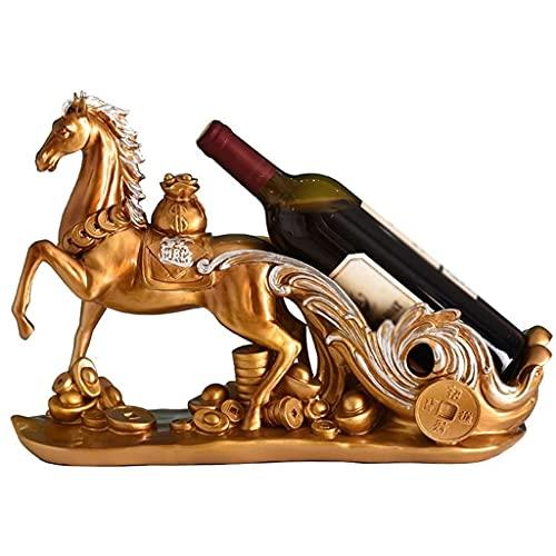MaxDal Soporte De Estante para Botellas De Vino, Decoración De La Decoración del Caballo De La Suerte, Estante De Exhibición De La Encimera, Regalo para El Hogar De Una Sola Botella