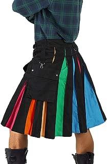 Mens Halloween Scottish Utility Kilt Rainbow Pleated Retro Skirt