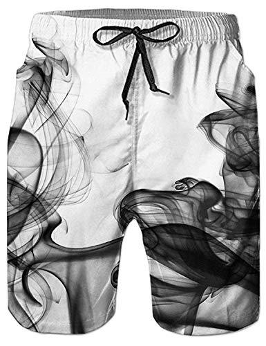 Fanient Herren Badehosen Schnell Trocknendes 3D Gedruckt Rauch Grafik Badeshorts Elastische Taille Kordelzug M