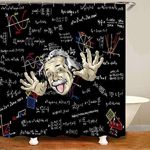 N / A Lustige Einstein Physik Formel Wissenschaft Geek Duschvorhang Set Einstein Wasserdichter Badezimmer Vorhang-B90xH180cm