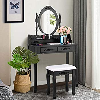 Giantex Makeup Dressing Table with Oval Mirror and 4 Drawers