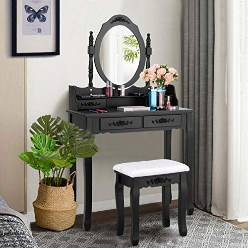 Giantex Vanity Set with Oval Mirror and 4 Drawers, Makeup Dressing Table with Cushioned Stool, Modern Bedroom Bathroom Dressing Table for Women Girls (Black)