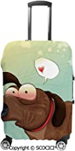 SCOCICI Luggage Bag Cover Puppy in Love Werner Dog Romance Confusion Humor Caricature Style Pet Graphic Elastic Suitcase Protective Cover Travel Luggage Case Cover