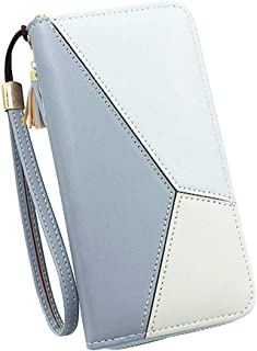 InnErsetting Women Long Wallet Clutch Purse Tassel PU Zip Phone Card Holder for Adult Carry-on Ornaments and Collecting Light Blue