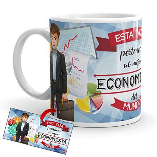Kembilove Taza de Café del Mejor Economista del Mundo – Taza de Desayuno para la Oficina – Taza de Café y Té para Profesionales – Taza de Cerámica Impresa – Tazas de Jefe de 350 ml Economista