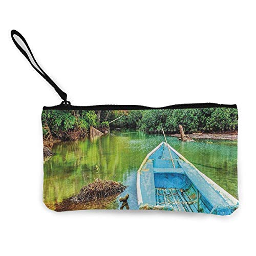 SDFGJ Old Boat in Tropical River Women and Girls Cute Fashion Canvas Coin Purse Change Coin Bag Zipper Small Purse Wallets for Keychain Money Travel Pouches