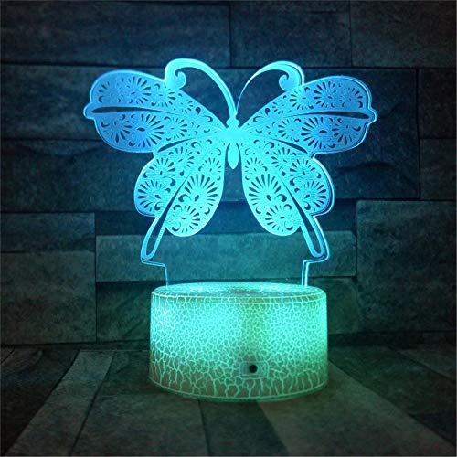 LBJZD luz de noche Mariposa 3D Led Lámparas De Luz Nocturna 3D Ilusión Óptica 7 Colores Mesa Táctil Escritorio Lámpara Visual Decoración Del Hogar Regalo Para Niña Y Niño Sin Mando A Distancia