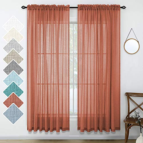 Terracotta Curtains 84 Inches Long for Living Room Set of 2 Panels Rod Pocket Window Decor Faux Linen Drapes Semi Sheer Textured Terracotta Red Curtains for Bedroom Boys Room 52x84 Length Rust Orange