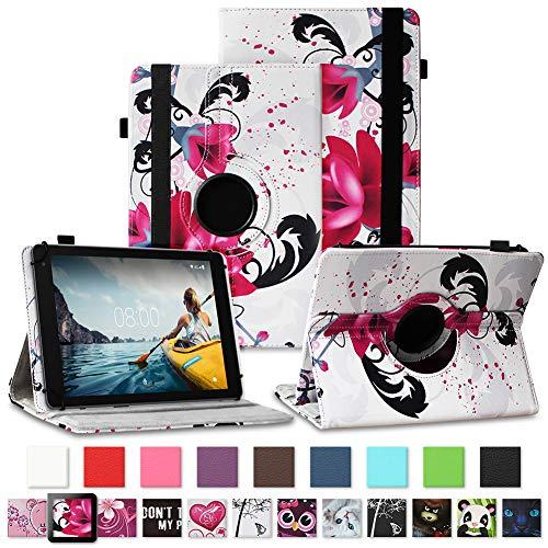 NAUC Tablet Hülle kompatibel für Medion Lifetab E10430 E10604 E10412 E10511 E10513 E10501 Tasche Schutztasche Cover Schutz Hülle 360° Drehbar Etui hochwertiges Kunst-Leder, Farben:Motiv 11