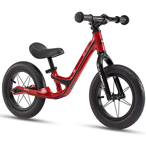 RoyalBaby 6C Boys Girls Balance Bike Lightweight Carbon Fiber Sport Walking Bike for 2 to 5 Years Child's Airfilled Tire No Pedal Kids Toddler Training Bicycle Red