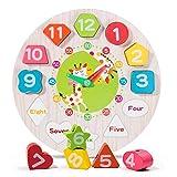Reloj de madera tiempo enseñanza rompecabezas juguete educativo forma número color aprendizaje para niños preescolar niños y niñas