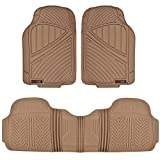 Motor Trend FlexTough Baseline - Heavy Duty Rubber Car Floor Mats, 100% Odorless & BPA Free, All Weather (Tan Beige) - MT773BGAMw1