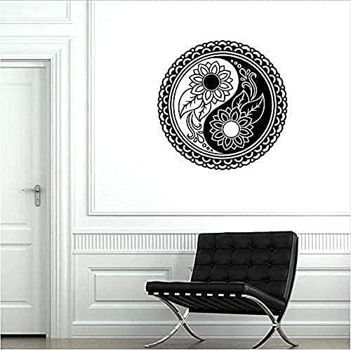 Yin Yang Flor Vinilo Pared Calcomanía Dormitorio Zen Yoga Studio Pegatina Decoración Del Hogar Sala De Estar Mural Arte Calcomanía 57X57Cm