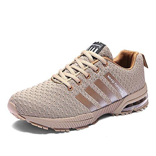lls Straßenlaufschuhe Herren Damen Laufschuhe Outdoor Fitnessschuhe Traillaufschuhe(8877Beige,39EU)