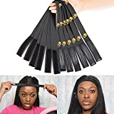 6Pcs/Lot Elastic Band With Adjustvelcro for Wigs,65Cm Length 3.5Cm Width Edge Laying Band with Printed Rose, Edge Laying Elastic Band for Yoga, Makeup, Facial, Sport (Black)