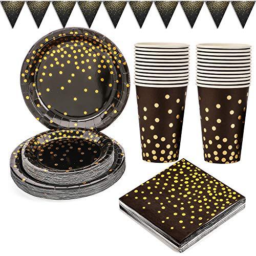 Platos de Papel Fiesta Oro Negro 101PCS Vajilla de Papel Cumpleaños Dorada Incluye Platos de papel de 9 ' y 7 ', Servilletas, Vasos de 12 oz, Banner, para Graduación, Cóctel, Cumpleaños (25 Invitados)